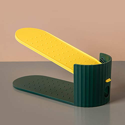 Organizador de zapatos de altura ajustable, 2 capas, portátil, ahorro de espacio, para niñas, mujeres y familia