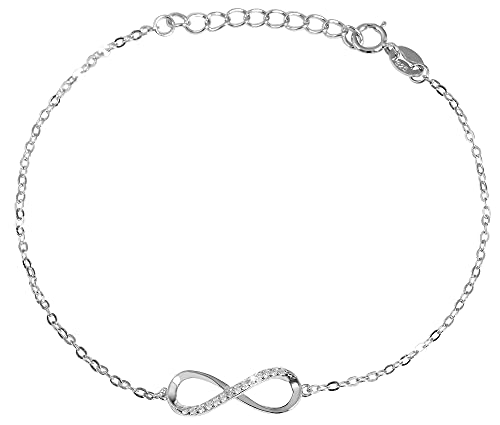 Akzent Pulsera de plata 925 para mujer, símbolo del infinito con 14 circonitas cúbicas, rodiada