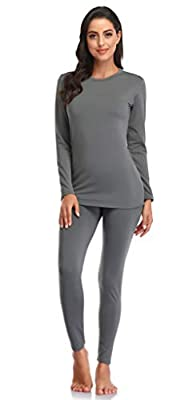 Thermal Underwear for Women Ultra Soft Long Johns Set with Fleece Lined Base Layer Women Top & Bottom Winter?Grey L?