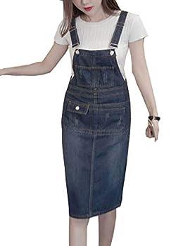Flygo Women s Casual Adjustable Strap Denim Suspender Skirt Bib Overall Dress  Large