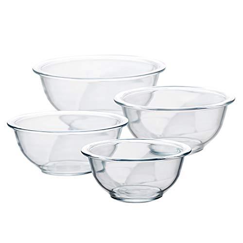 Luvan Ensaladeras Cristal, Conjunto 4 Cuencos de Mezcla de 1, 1.5, 2.5, 3.7 Cuartos, Utilizable en Microondas y Lavavajillas, Mezcla Segura, Conservación de Alimentos