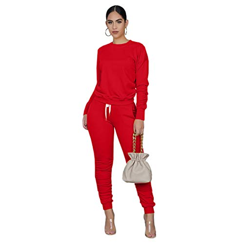Red Sweatsuit for Women 2 Piece Outfits Sets Winter Pant Set Solid Color Sweatsuits Jogger Outfits Tracksuit Lounge Set L