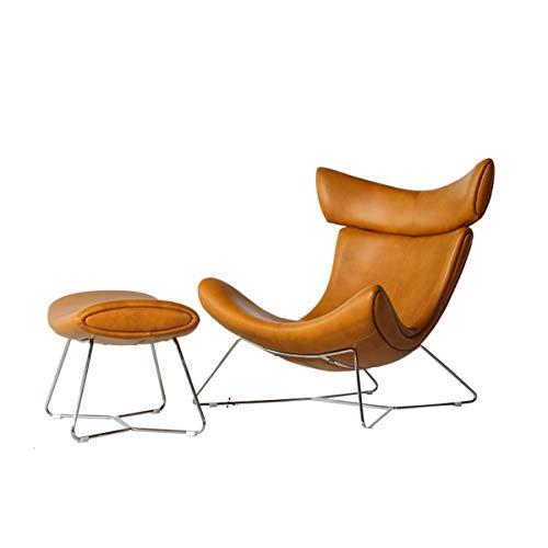 Nordic Light Luxus 1-Sitzer Sofasessel mit hoher Rückenlehne Freizeit Lederkunst Lounge-Chair für Wohnzimmer Amerikanische Sessel Couch,coffeewithPedal