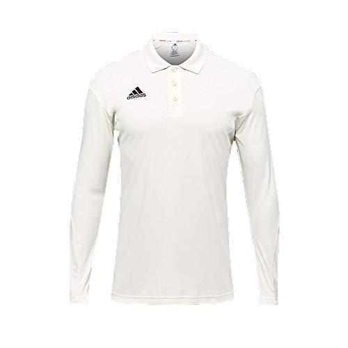 Adidas Howzat - Polo de manga larga para hombre, color blanco Blanco blanco L