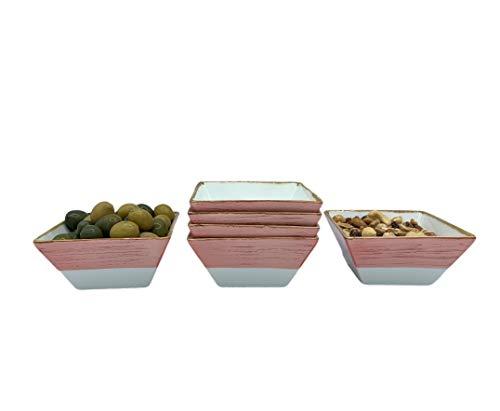 Cuenco Plato Aperitivo apilables cerámica Porcelana 6 piezas, Salsas, Postres, Recipiente estilo vintage pintado a mano 11 x 5.5 x 5.5 cm (250 ml) (Rosa)