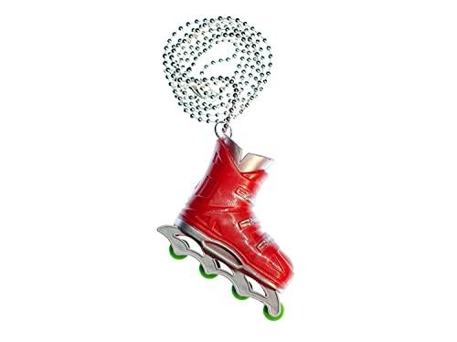 Miniblings Rollerskates Rollschuhe Inlineskates Skates Kette Halskette 80cm rot - Handmade Modeschmuck - Kugelkette versilbert