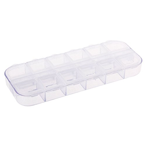 GUANGZHOU 12 Grid Plastic Paillette Rhinestone Nail Art Tool Storage Box Jewelry Container Nail Art Empty Plastic Case Transparent