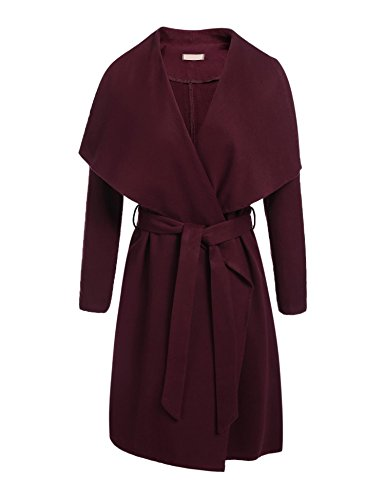 Zeagoo Women's Lapel Long Trench Coat Wool Blended Jacket Outwear Cardigan Wine Red