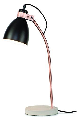 It's about RoMi DENVER/T/B Lampe à poser, Fer, E27, 40 W, Noir, 26 x 26 x 50 cm