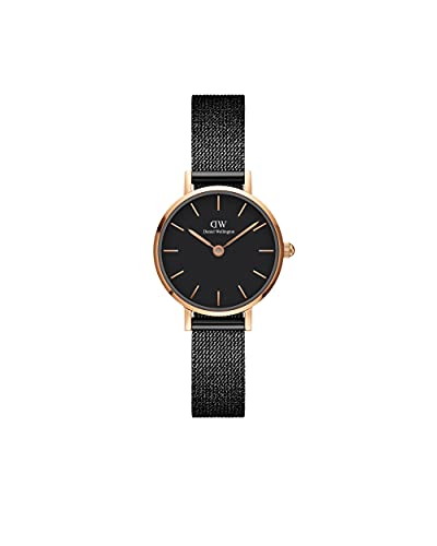 Daniel Wellington Reloj Petite Ashfield, pulsera de malla negra mate, 24 mm