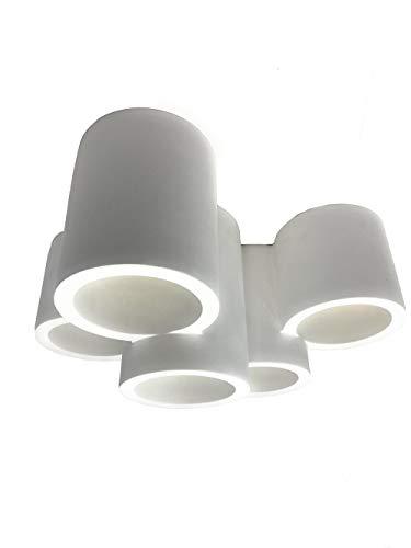 Vetrineinrete® Lampada in gesso a 5 cilindro da soffitto lampadario verniciabile supporto per faretti gu10 X19