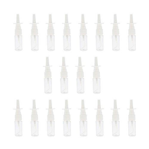 sharprepublic 20 Bouteilles En Plastique Vides De Nez De Brume De Jet De Pompe Nasale En Plastique 10ml / 15ml / 30ml Clairs - 15 ml