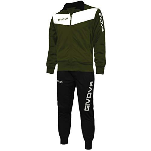 menitashop Tuta GIVOVA Uomo Donna Visa Fitness Calcio Blu Nero Bianco Giallo Rosso (Verde Militare/Nero, L)