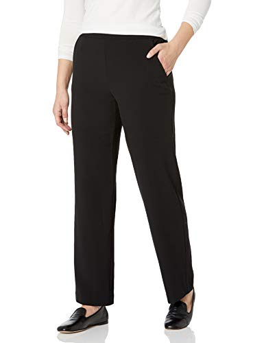 Briggs New York Women's Flat Front Pull On Pant with Slimming Solution, Black, 16