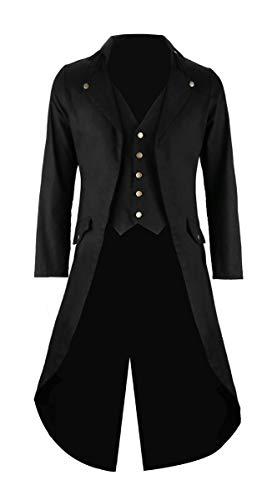 Mens Black Vintage Tailcoat Jacket Fancy Cool Cosplay Costume Robe Black Large