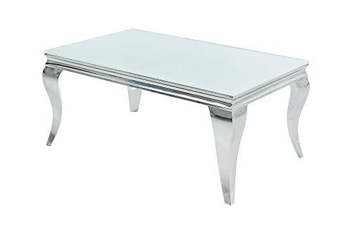 DuNord Design Mesa de centro barroca facetada de cristal blanco plateado 100 cm