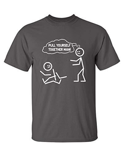 Pull Yourself Together Man! Camiseta divertida con figuras de palitos y diseños sarcásticos., XL, Negro