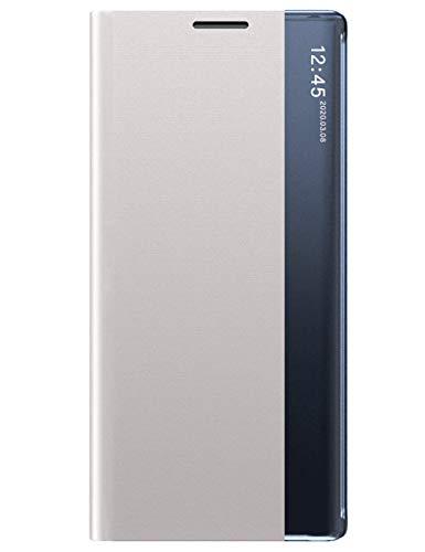 Croazhi Handyhülle Kompatibel mit Samsung Galaxy Note 10 Plus Hülle Schutzhülle Leder flip case Flip Hülle Tasche Original Clear View Cover 360 Grad Stoßfest Lederhülle für Galaxy Note10+ Handy