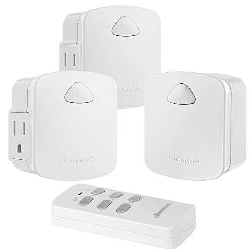 DEWENWILS Wireless Remote Control Outlet, Remote Light Switch, 15A/1875W, 100 FT Range, Programmable, Low Profile Side Plug, White (1 Remote + 3 Outlets Pack)