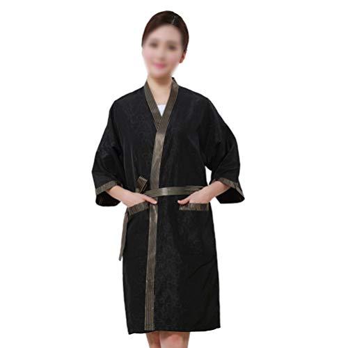 Pixnor Bata de Salón Clientes de Peluquería Bata Estilo Kimono Batas Capa para Barbero Spa