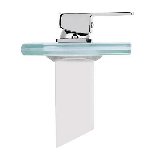 Huakii 【Cadeau d'Avril】 Grifo de Lavabo con Agua, Grifo de Cascada de Bricolaje de 3/8 Pulgadas, Vidrio LED para baño de Cocina