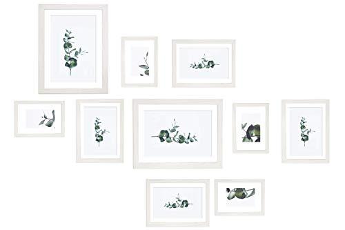 Chely Intermarket, Marco multifotos Pared Set de 10 Marcos(Blanco) Mod-254 (10x15cm(x4)-13x18cm(x4)-20x25cm(x2)). Portafoto de Madera sólida MDF con Cristal Vidrio.