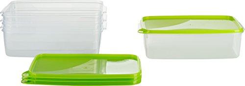 MiraHome Frischhaltedose Gefrierbehälter 3l rechteckig 28x18x8cm 4er Set grün Austrian Quality