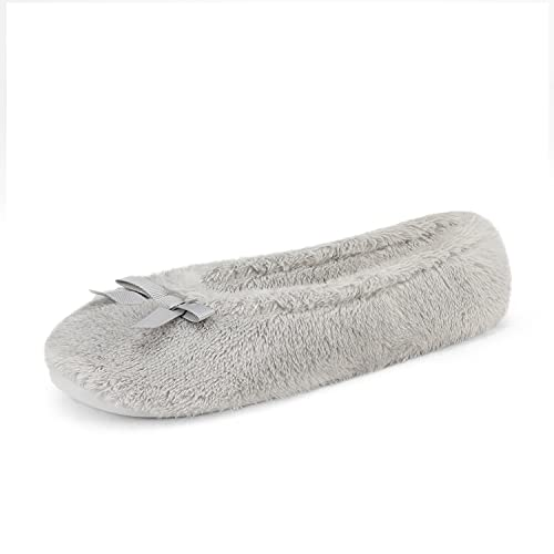 DREAM PAIRS Women's Grey House Fluffy Ballerina Slippers Fuzzy Cute Faux Fur Closed Toe Slip On Indoor Slippers Size 7-8M US