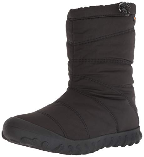 BOGS Women's B Puffy Mid Waterproof Insulated Winter Snow Boot, Black, 7 M US