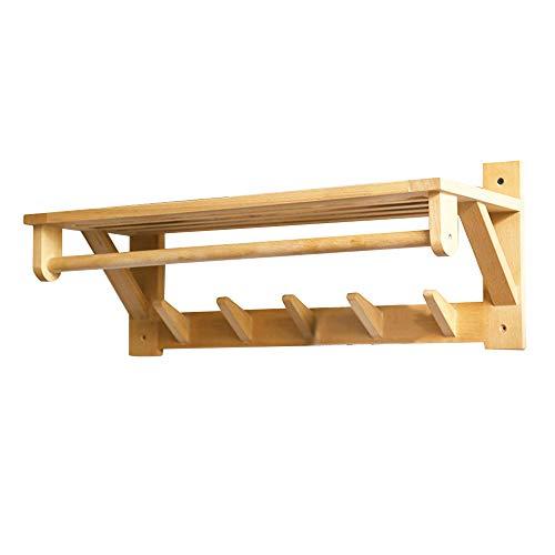 MEHE@ Porte-manteau maison salon chambre solide bois crochet mur cintre stockage rack 60 * 23.5 * 23.2 cm