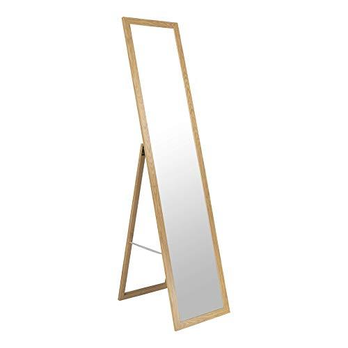 BD ART Stand-Ankleidespiegel Eiche 155,8 x 35,8 cm Standspiegel Garderobe Standspiegel Eiche Zeitloser eleganter MDF Rahmen