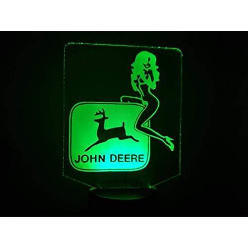 J. DEERE + Girl, Lampada illusione 3D con LED - 7 colori.