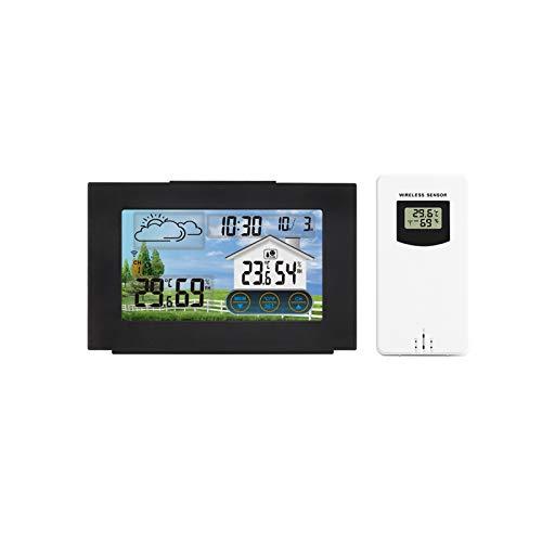 SDAKVDNS Noten-LED Wetter Uhr, Thermometer und Hygrometer, Wettervorhersage Wecker