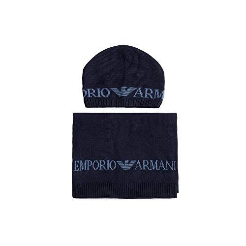 Emporio Armani Cotone Blu Sciarpa/Cappello Set Blu Taglia unica