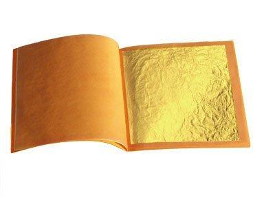 50 Stück Lose Blattgold, essbar, 35 x 35 mm, 24 Karat, echt,