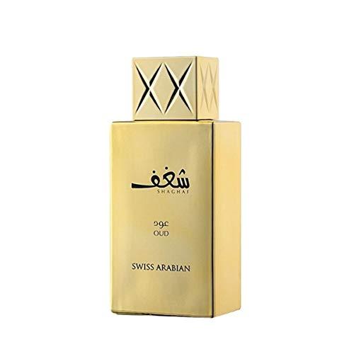 Tawakkal Perfumes Shaghaf Oud de Swiss Arabian - Fragancia unisex con notas de vainilla, praliné, rosa y azafrán, 75ml