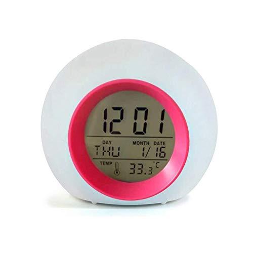 YEUNG kinderwekker met temperatuurkalender 7 kleuren wijzigen, 6 optionele alarmgeluiden wake-up digitale klokken voor slaapkamer elektronische alarmklokken