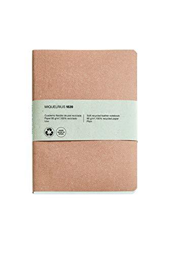 Miquel Rius - Cuaderno bonito 100% reciclado, cubierta flexible de piel reciclada, tamaño 152 x 210 mm, 200 páginas lisas de 80 g/m², color craft
