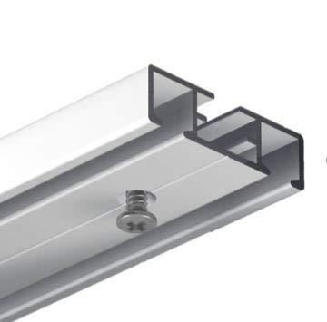 Gardineum 180 cm Vorhangschiene Gardinenschiene, alle Längen bis 4,60 m möglich, Aluminium, 2-läufige graue Objektschiene, vorgebohrt
