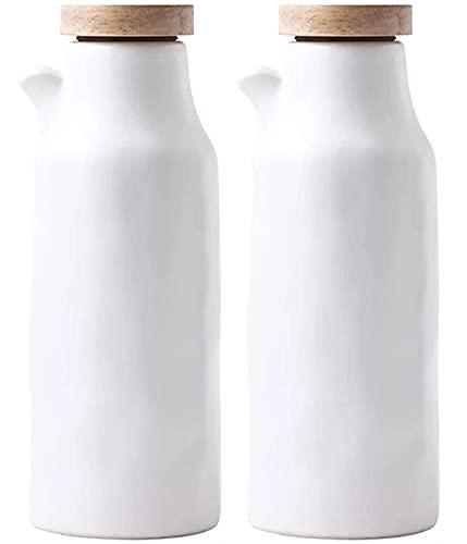 2Pcs Cerámica Botellas De Aceite Botella Dispensadora De Cerámica Aceite De Oliva Salsa De Soja Vinagreta Vinagrera De Condimentos Líquidos Lata De Almacenamiento Para Cocina 400ML,A