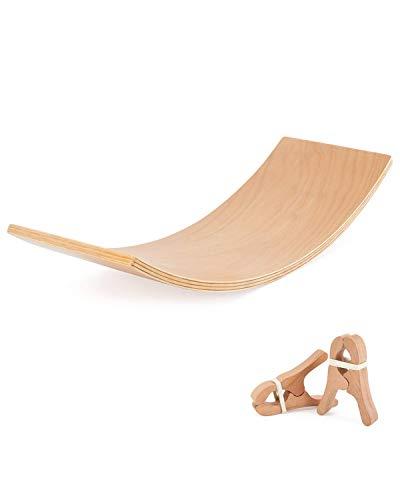 QNINE Balance Board 80cm x 30cm, Aus Holz Balancierbrett für Kinder zur Verbesserung von Balance, Kreativität und Vorstellungskraft