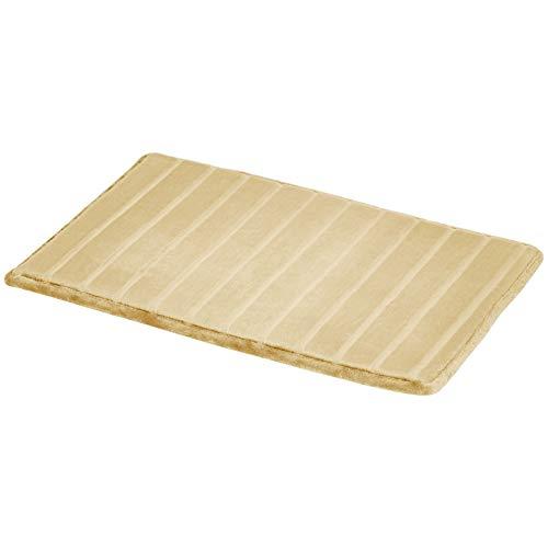 Amazon Basics - Alfombra para baño de espuma viscoelástica a rayas, Beige, 50 x 80 cm, Pack de 2