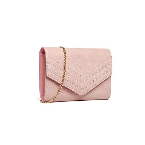Miss Lulu Clutch Damen Envelope Pochette Abendtasche Mode Elegant (Rosa)
