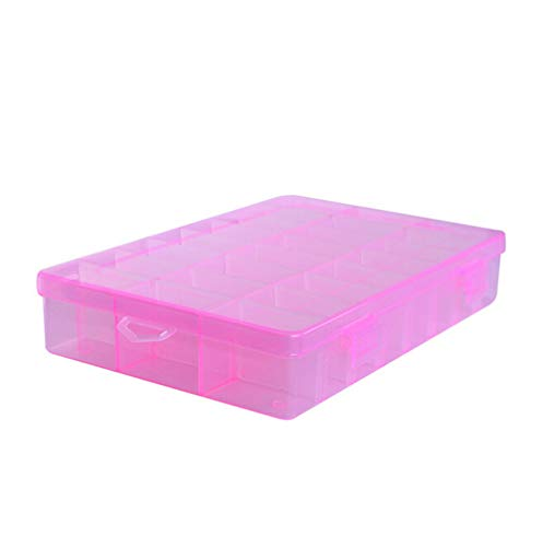 WuLL Joyero organizador 24 grillas plástico transparente caja de joyería pequeña caja...