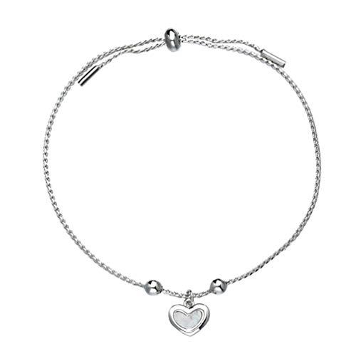Holibanna Pulseira ajustável com cordão em formato de coração, pulseira de amizade feminina, pulseira feita à mão, acessórios para mulheres, adolescentes e meninas (prata)