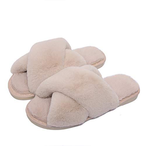 Pantofole Donna Invernali Peluche Casa Scarpe Slippers Ciabatte Aperta Pantofole Pelose Diapositive Fluffy Infraditorosa 39/40 EU (Dimensioni dell'etichetta40/41)