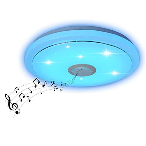 Lámpara De Techo LED Con Música Bluetooth Con Aplicación Y Control Remoto Lámpara De Techo Regulable De 38 CM Con Altavoz De Música Para Sala De Estudio Habitación Infantil Iluminación De Dormitorio