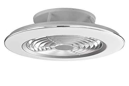 Plafón con ventilados ALISIO - Iluminación interior MANTRA - LED 70W Ventilador 30W - Dimable 2700K-5000K - color plata cromo