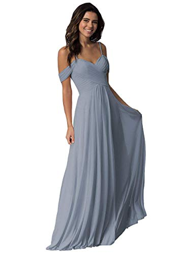 Elleybuy Sweetheart Neckline Bridesmaid Dresses,Off Shoulder Fromal Dress for Women Dusty Blue