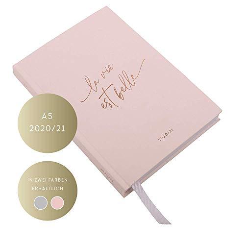 JO & JUDY Kalender A5 2020/2021 - Wochenplaner mit Softcover und Goldfolienprägung - Pink